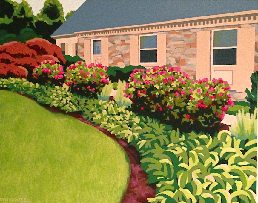 """Friends who were moving out of their long-time residence commissioned this painting showing the lush gardens along the front of their house. They decided to name the painting """"Summer Splendor"""". It reminds them of happy times with family and friends in a place very dear to them.   Acrylic on canvas, Nina Davidowitz copyright 2013"""