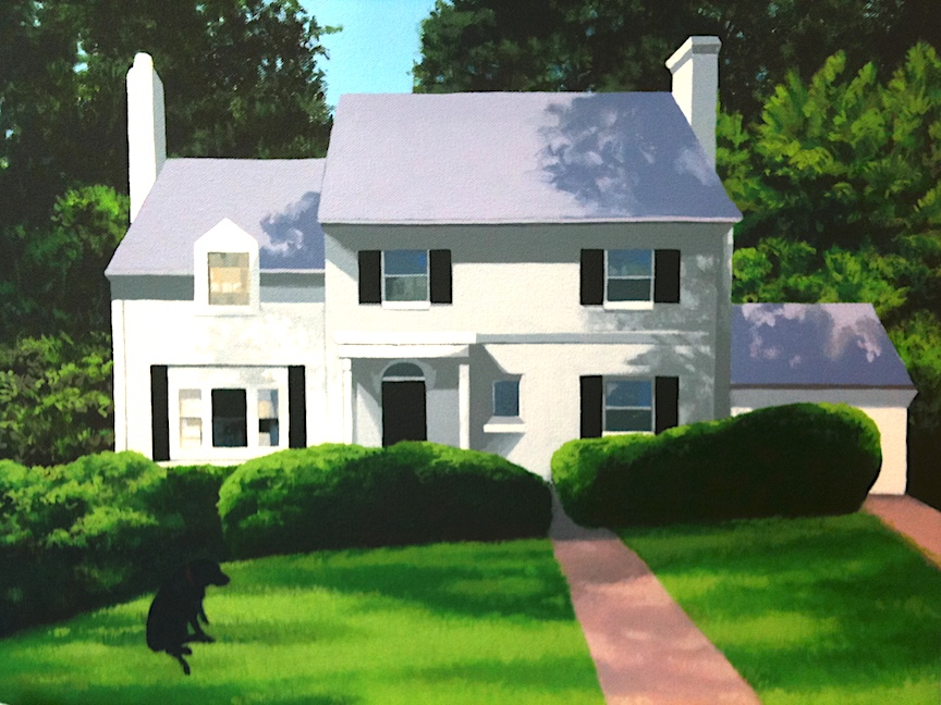 This painting is fun because it is a house portrait, but I snuck in a beloved character in the front yard...the owner's Black Lab! This is a view of their home in the summertime.   Acrylic on canvas, Nina Davidowitz copyright 2010