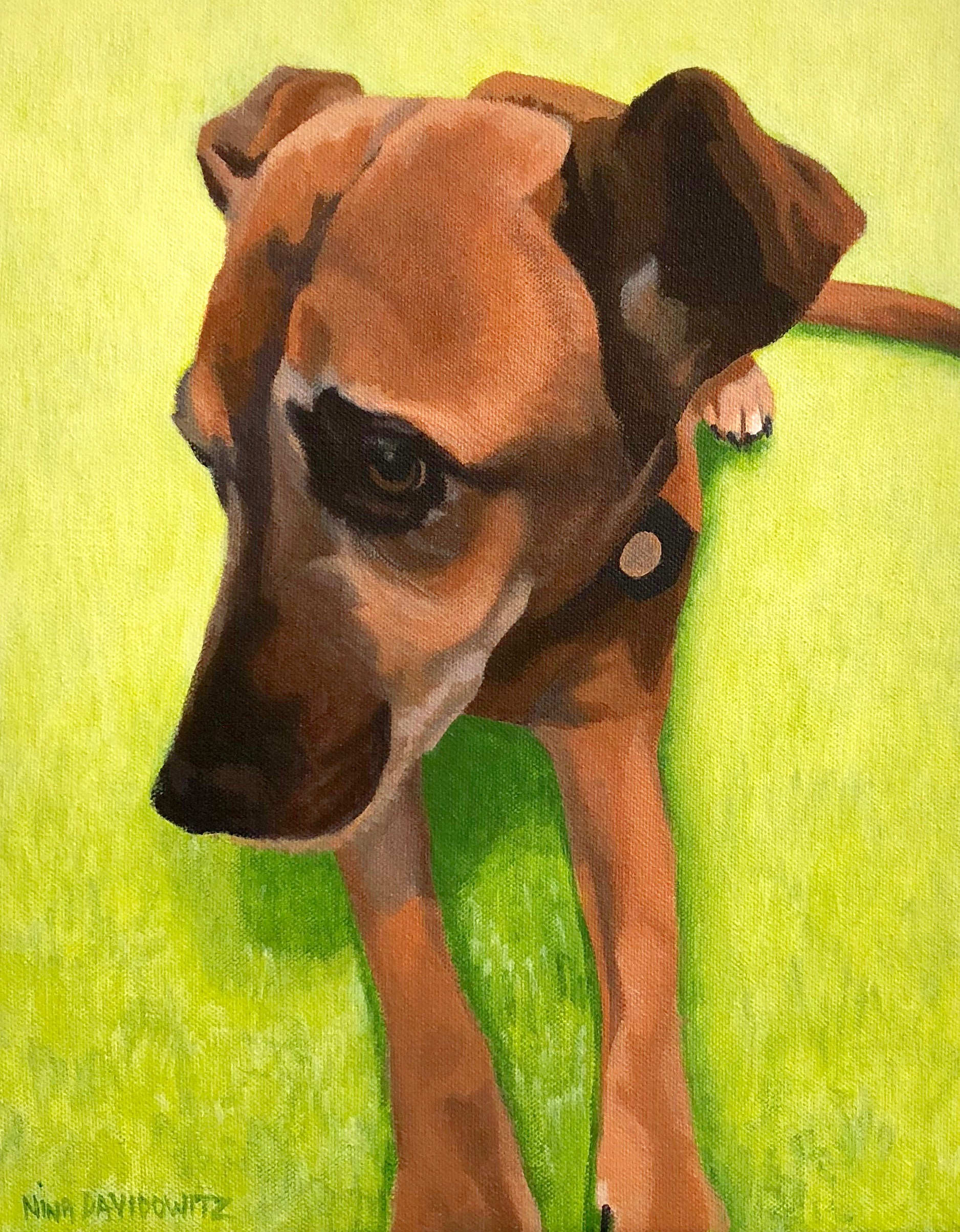 """Portrait of Coco"", acrylic on canvas, 11"" x 14"", 2018"