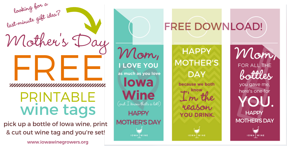 "Instructions: Click on the image and download these FREE printable wine tags, print onto 8.5"" x 11"" cardstock, cut out and fold slightly on the line. Place on your Iowa wine bottle for an instant perfect gift."