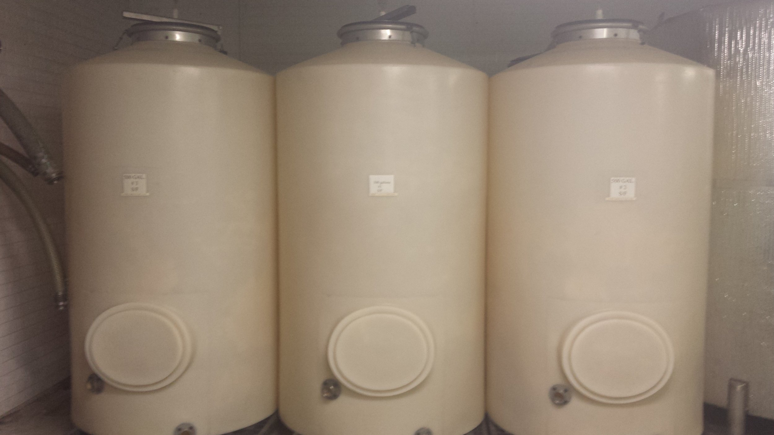 9 - 500 gallon foodgrade poly container tanks - $75/each