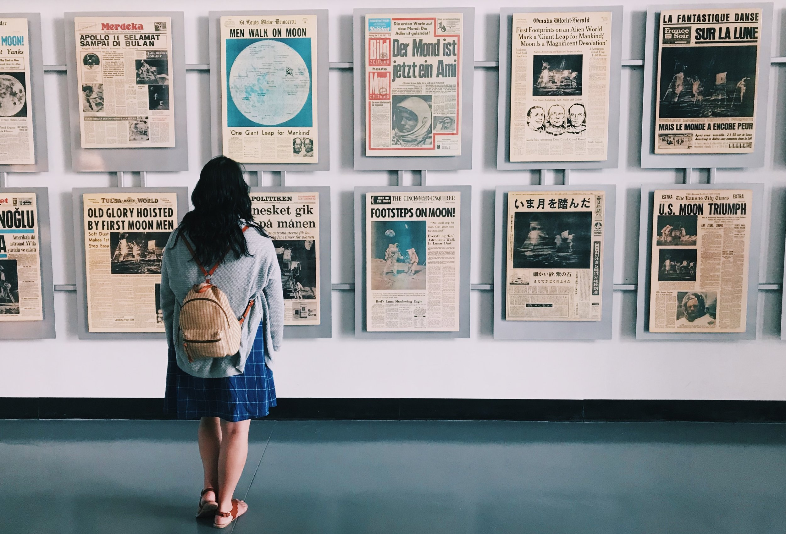 They had this really cool wall of newspaper headlines from when the U.S. was in the race to the moon.