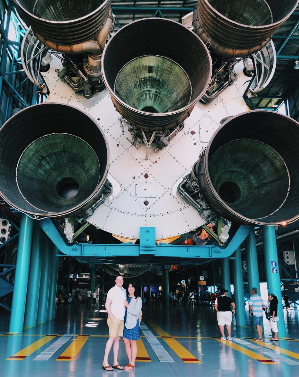 Chance and I infront of Saturn Five.The quality of the picture isn't the best due to trying to fit all of this massive shuttle into the picture.
