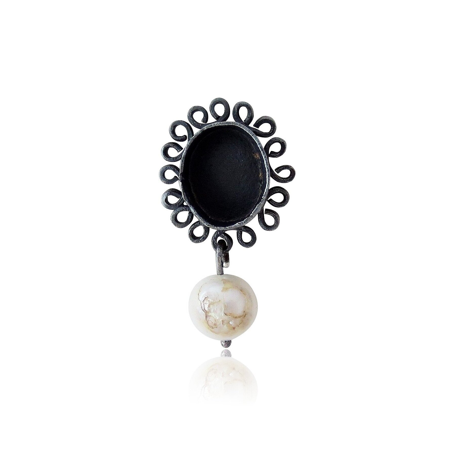 Oxidized sterling silver with freshwater pearl.