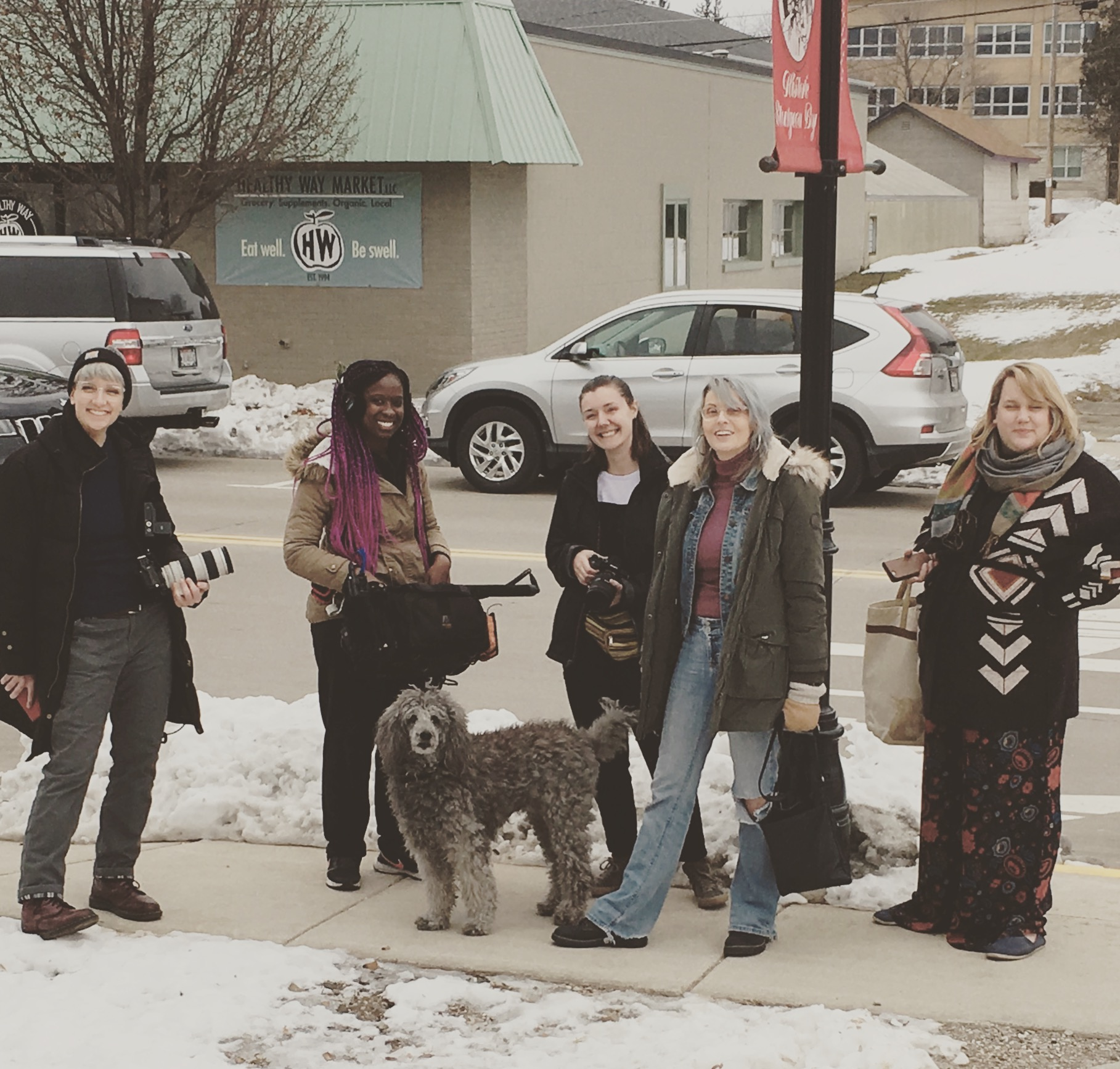 """The wonderful all female film crew of """"My First And Last Film"""" by Tracey Thomas (2nd from right). Film producer Kristin Peterson (far right). With poodle LilyPut Grier"""