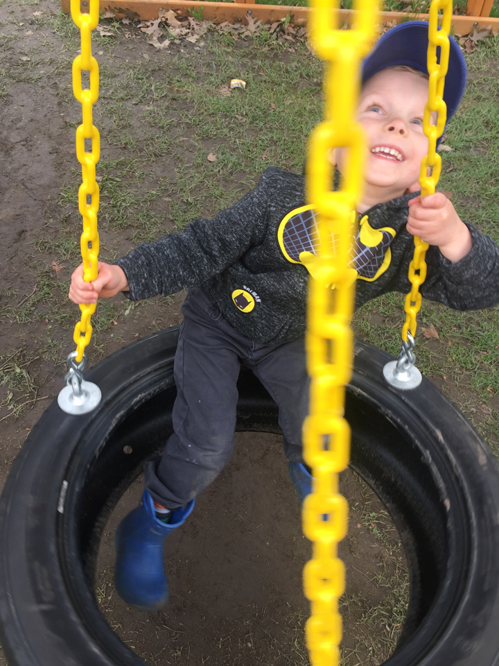 Tire swing fun!