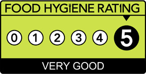 Our kitchen in Berkshire has been rated 5 stars in food hygiene and above is our official artwork.