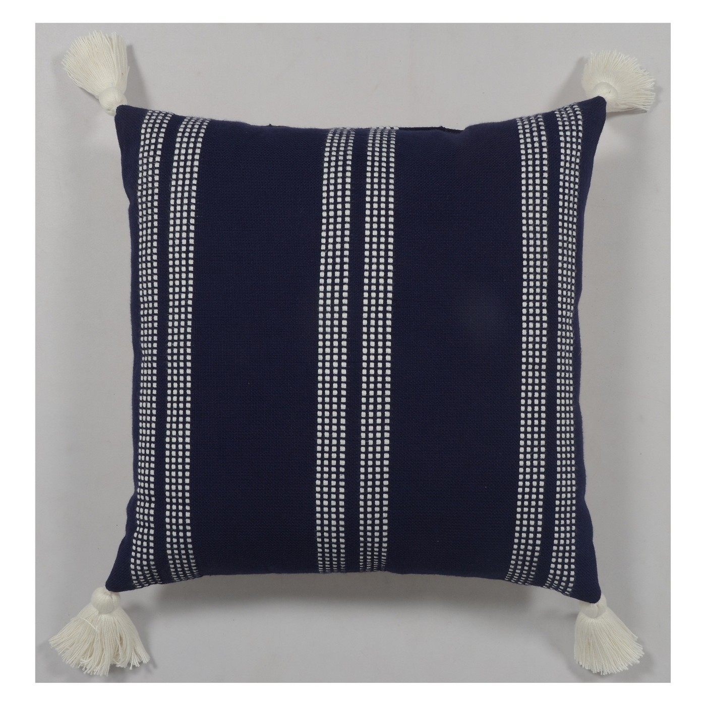 Throw Pillow with Tassels Blue - $19.99
