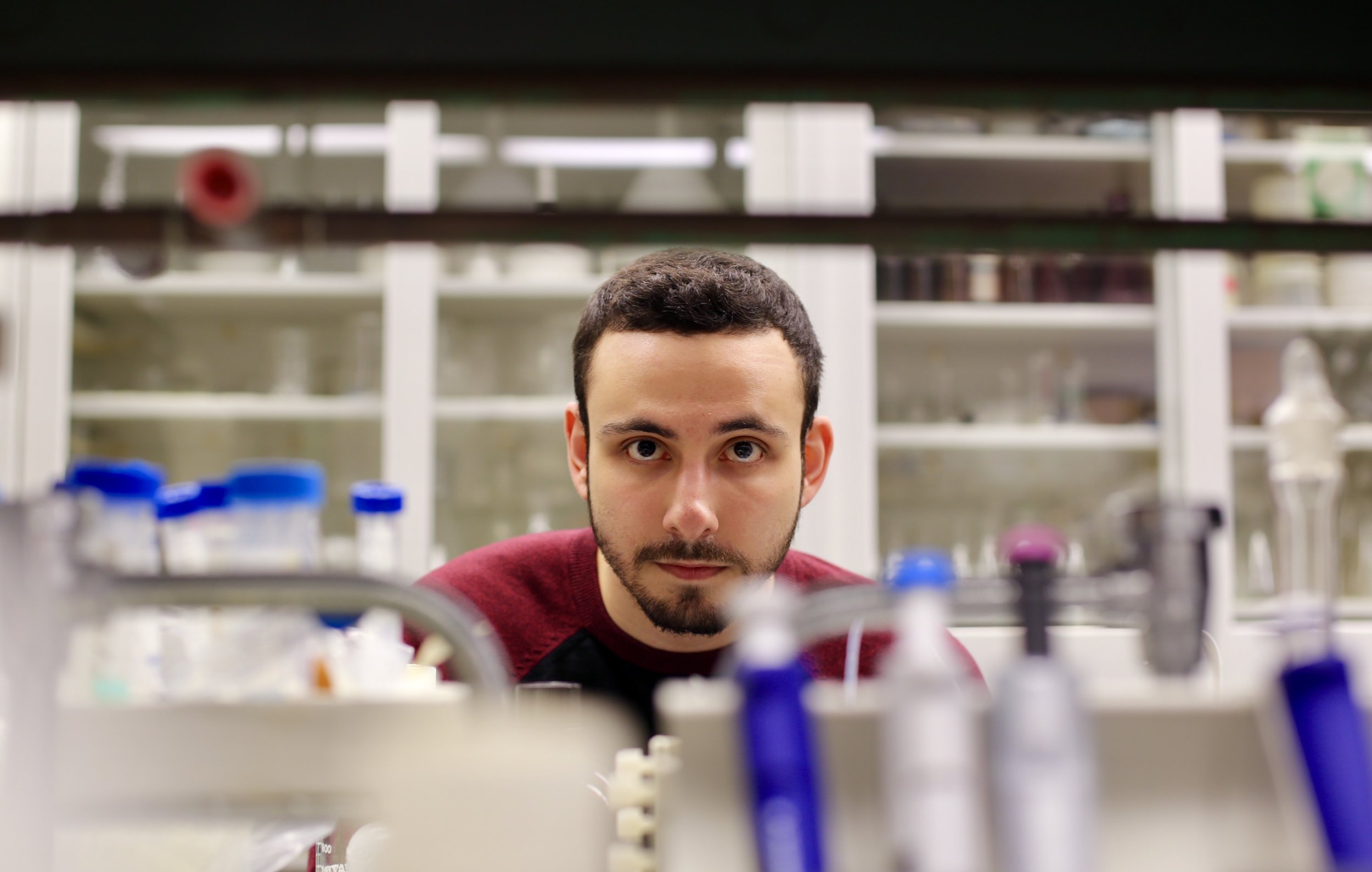 Mohanad Alsado is a senior biochemistry major and president of the Arab Student Association. His family immigrated from Raqqa, Syria to New York City in 1996. Photo by  Jiaman (Maggie) Peng .