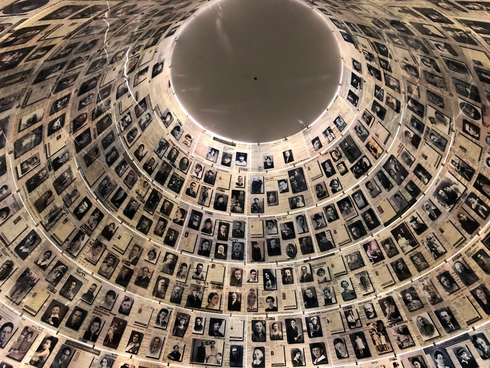 The faces and names of those murdered during the Holocaust at the Yad Vashem in Jerusalem