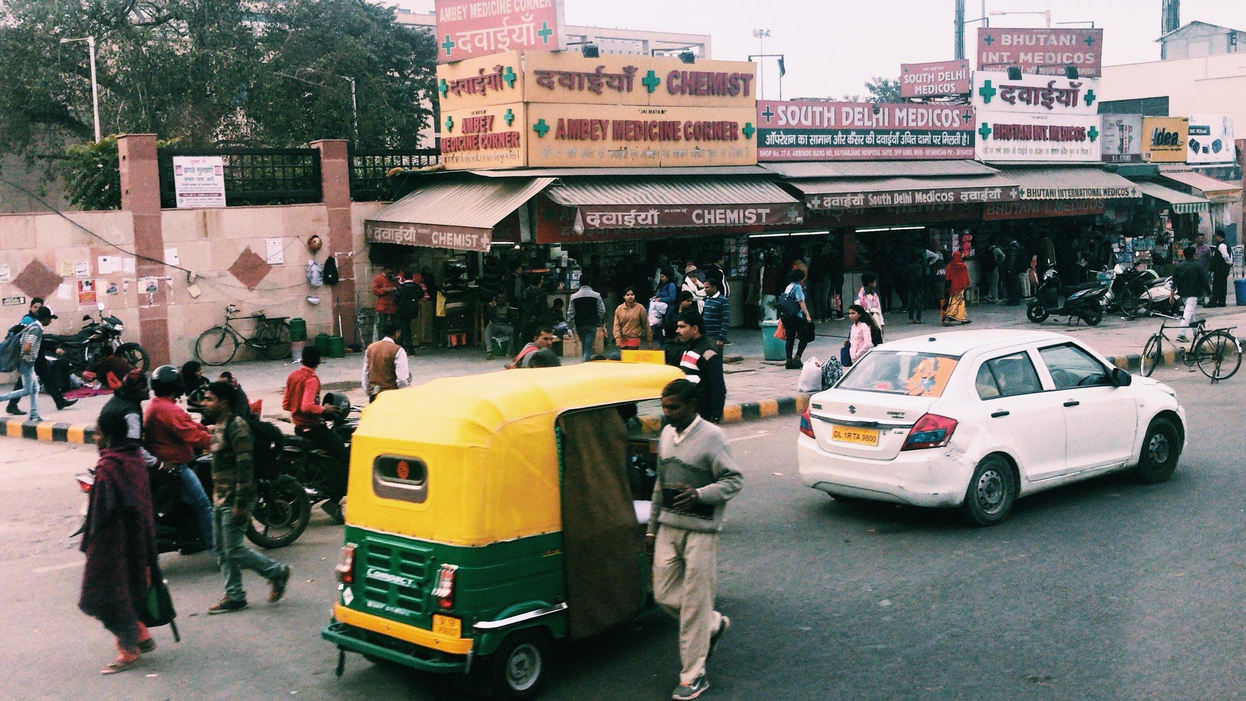 A busy street in South Delhi. Photo courtesy:  Ishana Sahabir