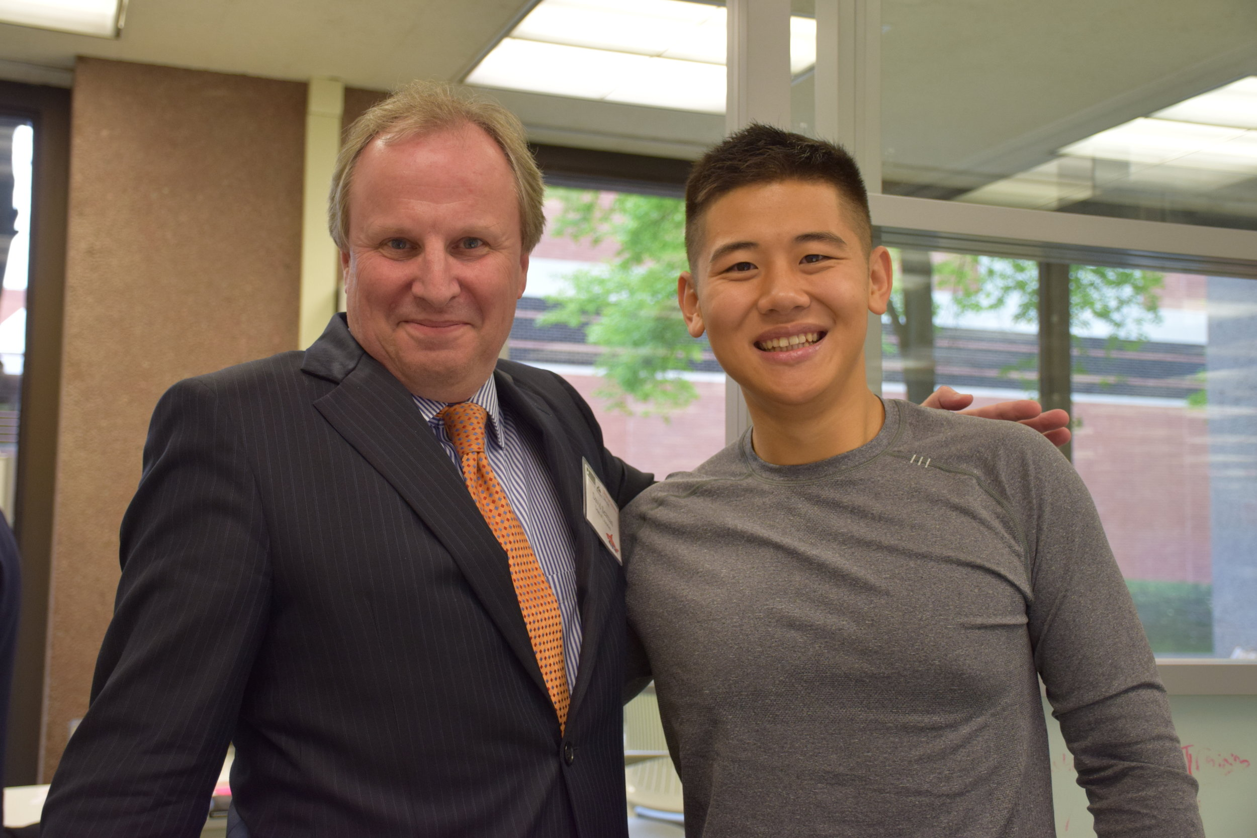 Dean of the Libraries David Seaman with Lawrence Lin '18, the Blackstone LaunchPad's first Global Fellow. He founded the Global Fellows program for SU's LaunchPad, is now working in the startup community in Beijing and Toronto, and mentors current LaunchPad students. Photo Courtesy:  The Blackstone Launchpad at Syracuse University