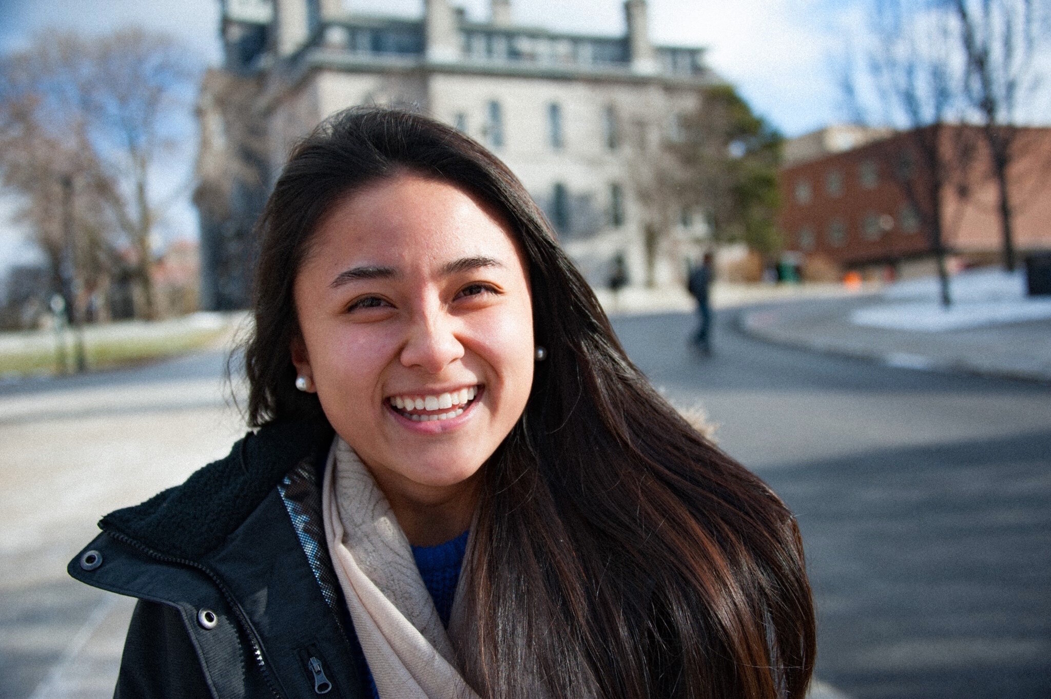 Born in Guangdong, China, Li spent her earlier years in Singapore. She's lived in Rochester, New York and now calls Shanghai home. Li poses for her friend's photography project outside of Hall of Languages in 2017. Photo Courtesy: Joann Li