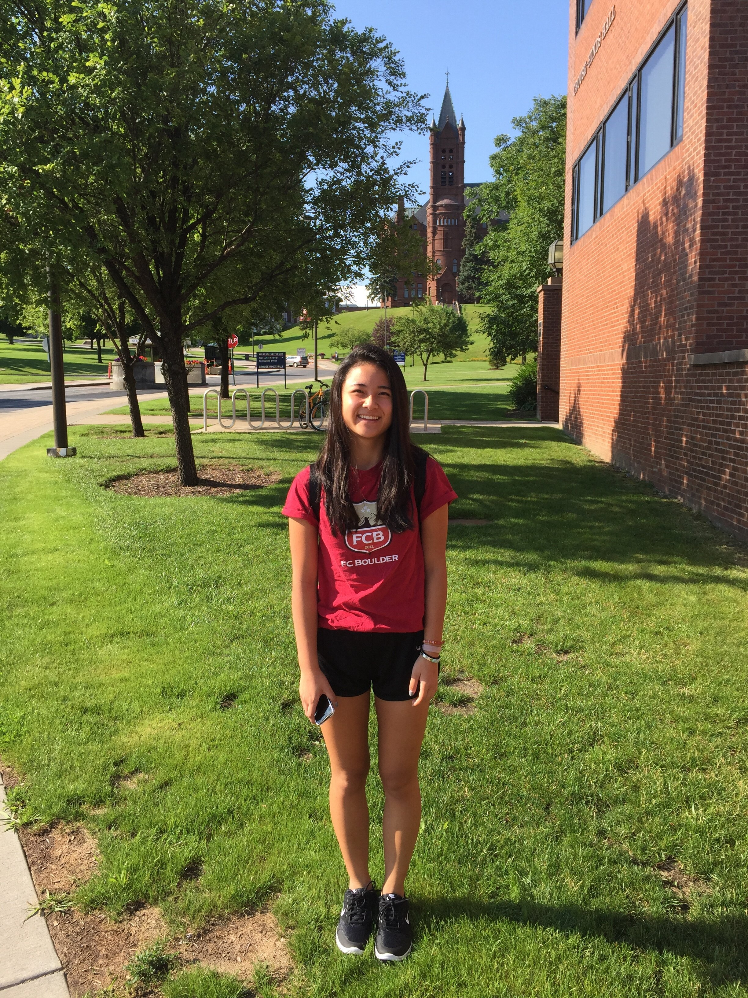 Li goes on her first ever tour of Syracuse University in July, 2015. Photo Courtesy: Joann Li