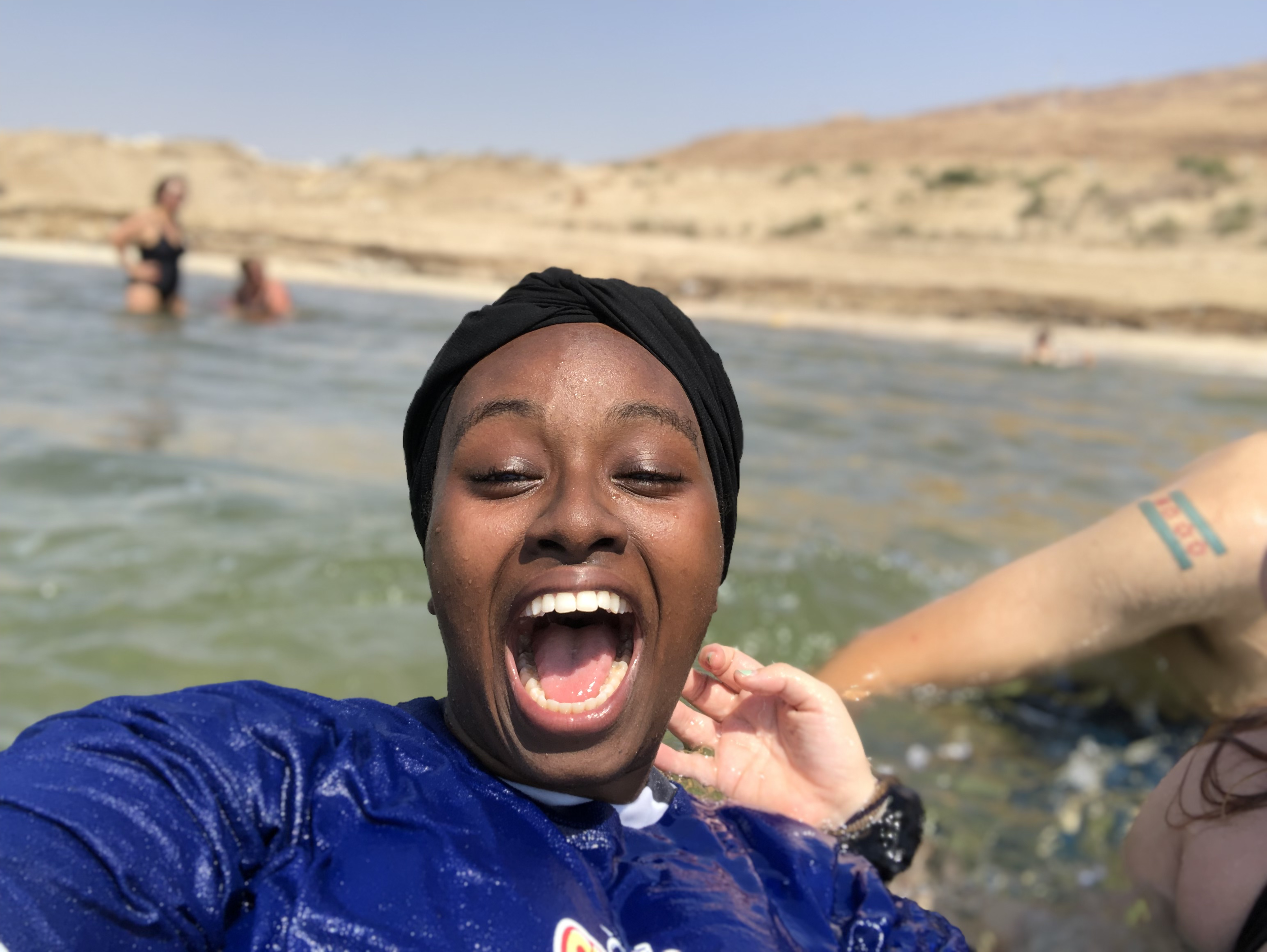 Salih travels to the Dead Sea, a salt lake between Israel and Jordan. Photo Courtesy: Ghufran Salih