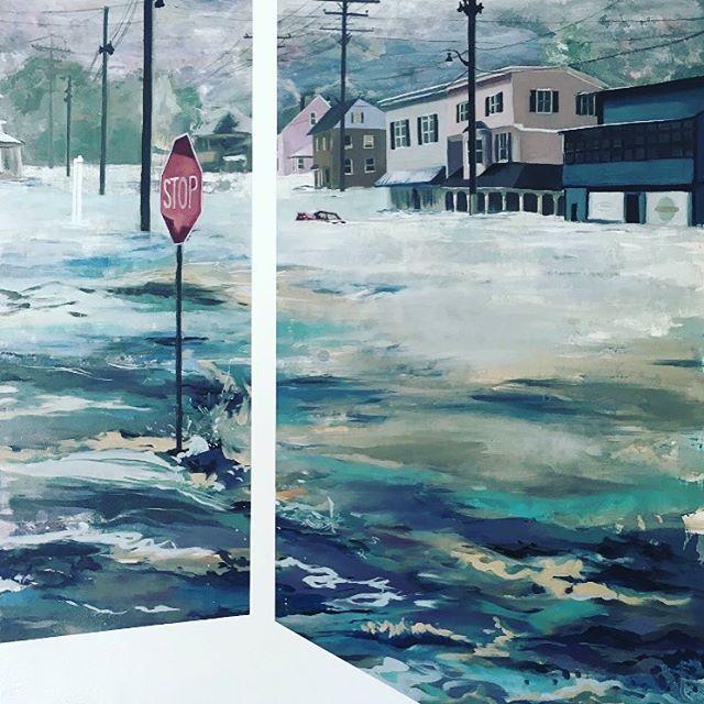 Fire & Flood ends tomorrow! No Sunday plans? Check out the show from 11-5 at @artistsgalleryec and then spend the day in #EllicottCityMD! 20% of proceeds go to the @ecponmain 😊 . . . . #art #painting #mixedmedia #flood #artforacause #artforsale #localartists #mdarts #marylandartist #hocoarts #bmorecreative #bmoreartist