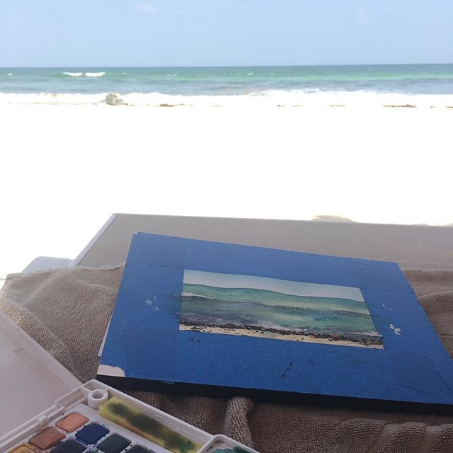 Cherishing our last moments in paradise 🏝 . . . . #art #pleinair #beachart #beachpainting #ocean #newlyweds #leahlewmanlaird #multilairdlove #painting #watercolor #marylandartist #rivieramayamexico #valentinimperialmaya #mexico