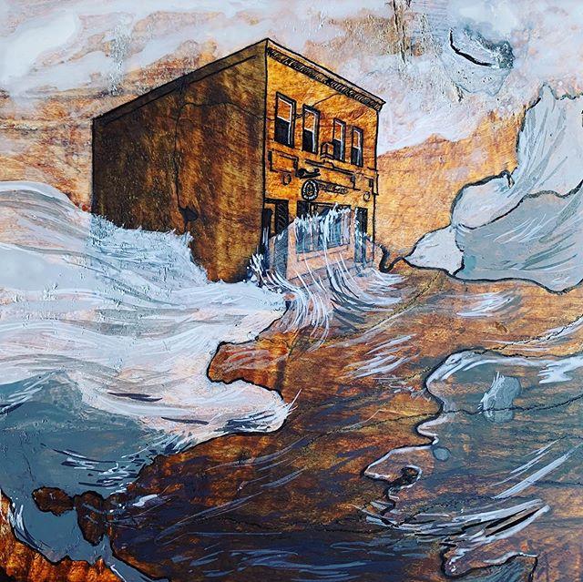 Missing Bean Hollow ☕️ . . . . . #artistsoninstagram #indiaink #inkdrawing #drawing #painting #marylandartist #bmoreart #baltimoremd #ellicottcitymd #ecstrong #water #blackandwhite #flooding #flood #beanhollowcoffee