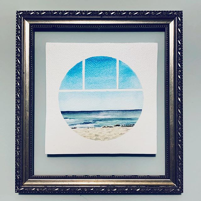 When it's summer and you just want to be at a beach somewhere 🏝 ☀️ . . . . . #art #painting #watercolor #tondo window #beach sand #ocean #beachart #artistsoninstagram #porthole #watercolorpainting #baltimoreart #bmoreart #bmoreartist #marylandartist #dcarts #dcartist #mdarts #rivieramaya #mexico #valentinimperialmaya