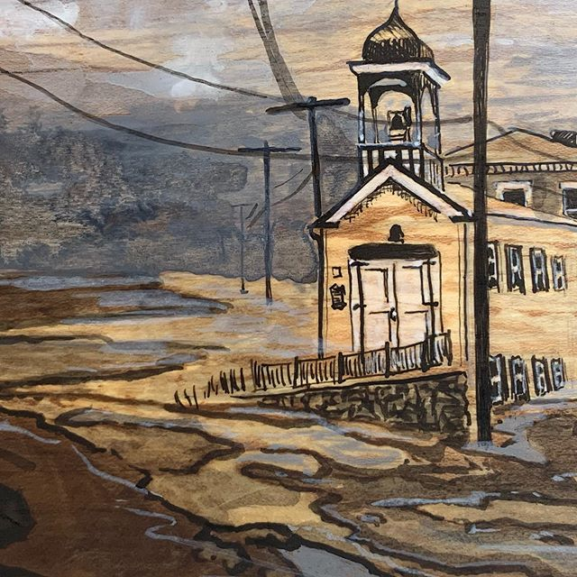 I love how the wood was slightly yellow for this one and it just happened to make sense to paint a yellow building 🏠 #firehouse #ellicottcitymd . . . . #art #fineart #dailyart #flooding #flood #water #indiaink #drawing #wood #woodgrain #spaltedmaple #painting #blackandwhite #monochromatic #historicellicottcity #mdarts #marylandartist #bmoreart #bmoreartist #dcarts #artistsononstagram #architecture #cityscape #landscape #naturaldisaster @visitellicottcity