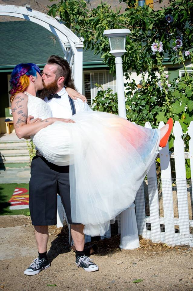 George (in his custom Rachel Park Designs wedding bow tie) and Linday