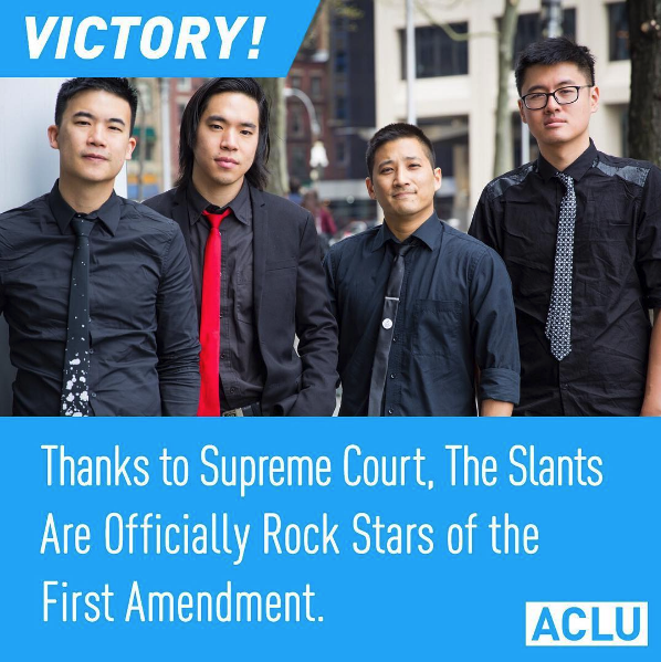 Simon Tam (in his custom Rachel Park Designs tie) and The Slants at the ACLU