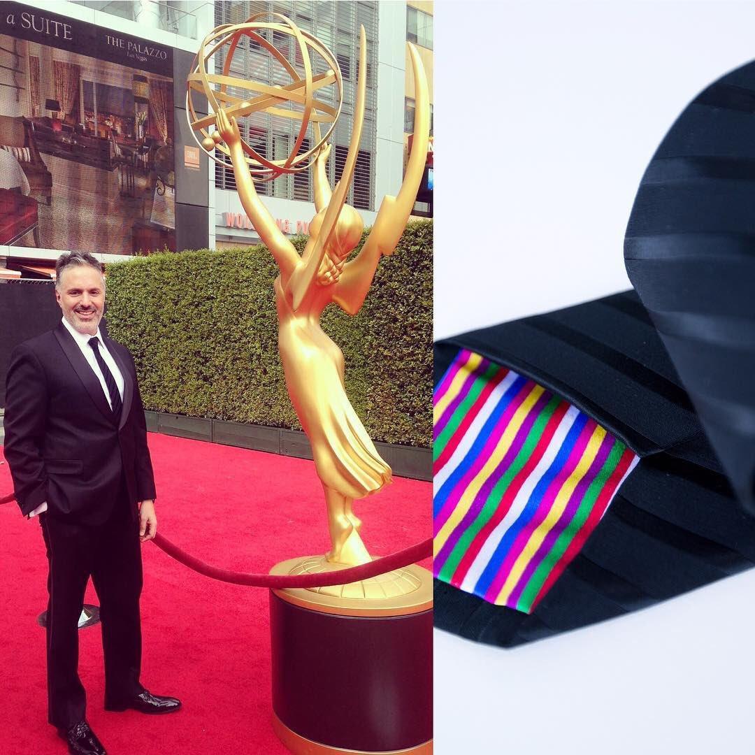 Nick at the Emmys in his custom Rachel Park Designs tie