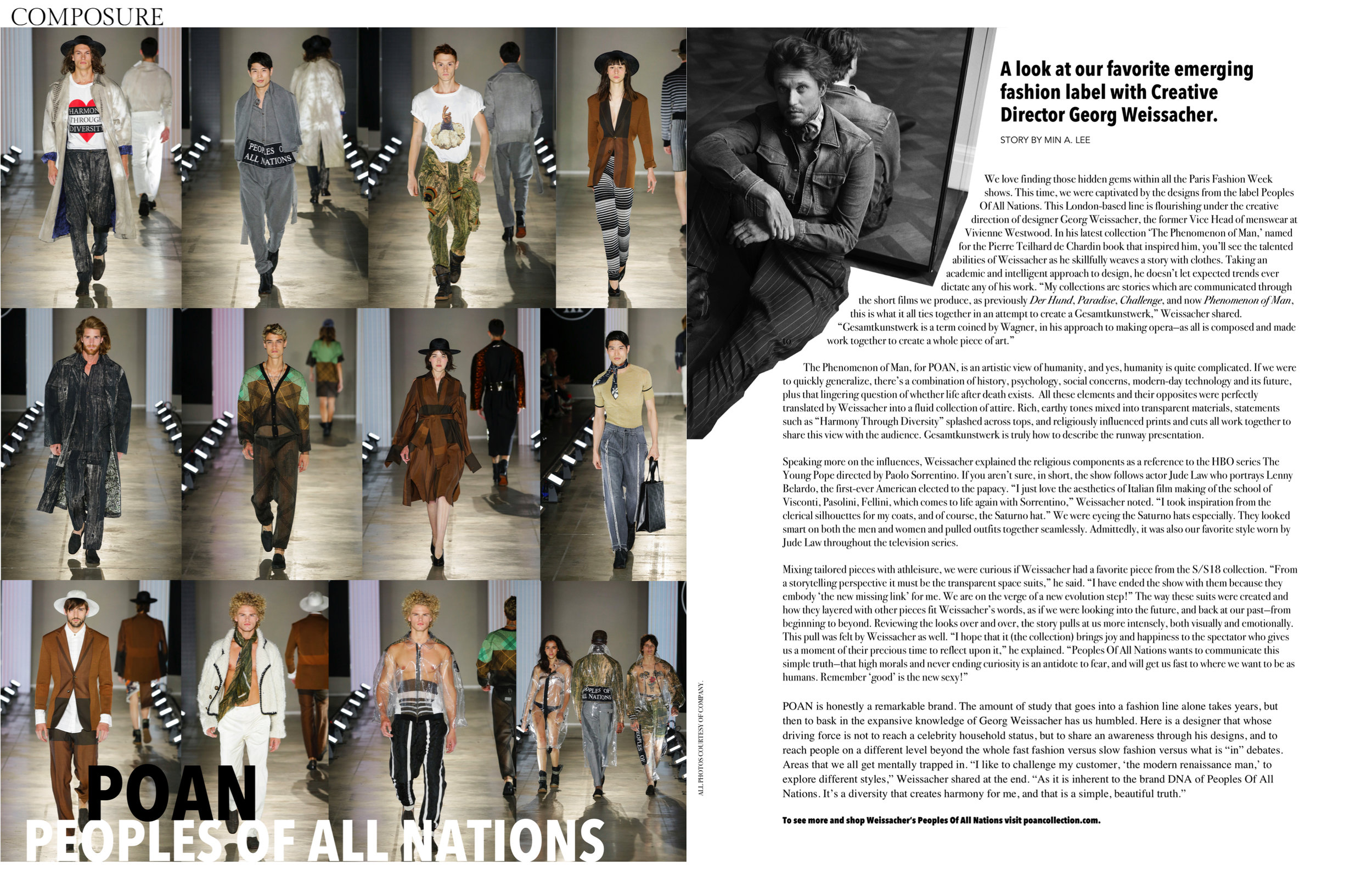 Min's feature on the fashion label, People of All Nations, for  Composure Magazine . Photo: Composure Magazine