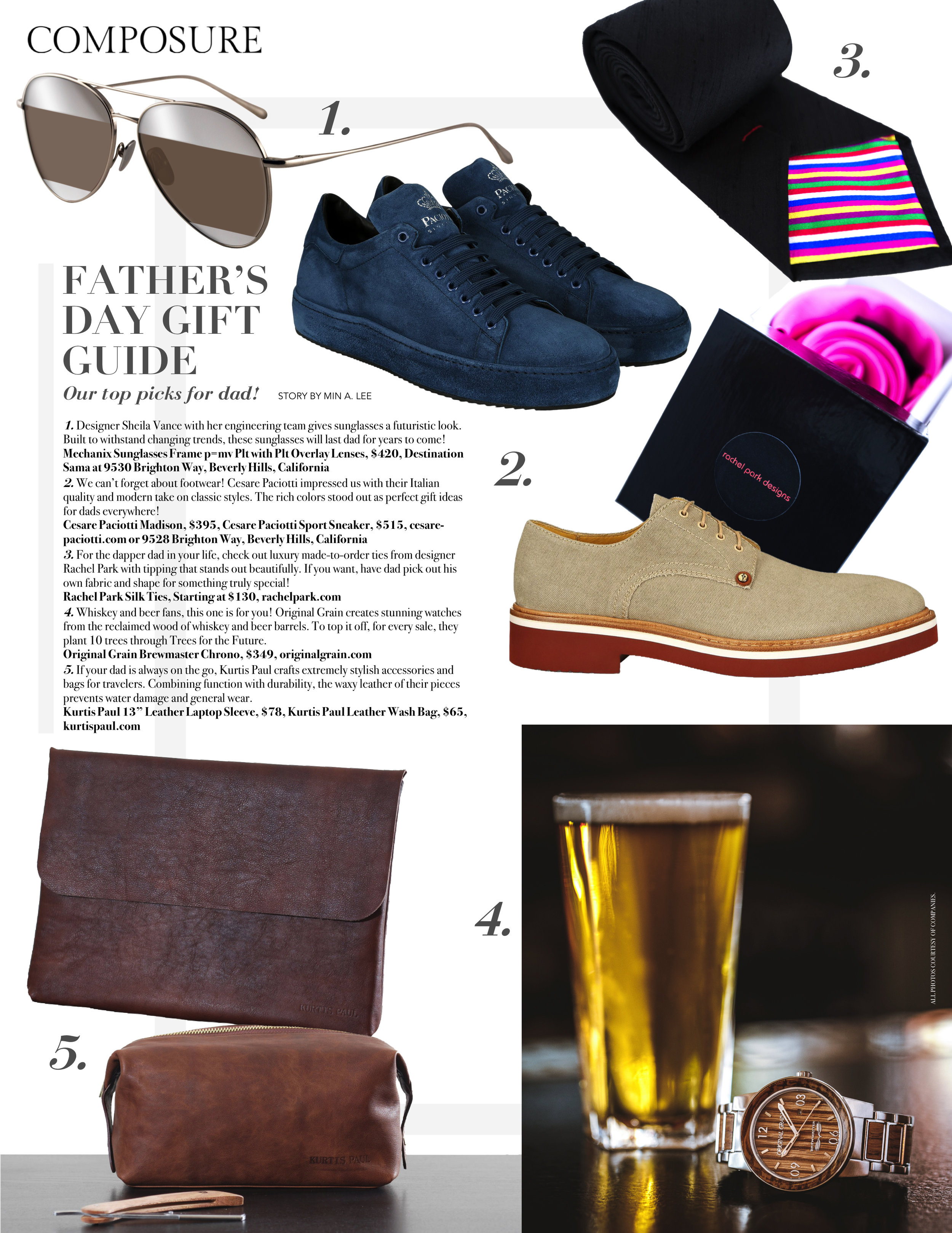 """HONORED to have a Rachel Park Designs tie featured by Min in her """"Father's Day Gift Guide""""for  Composure Magazine . ❤️ Photo: Composure Magazine"""
