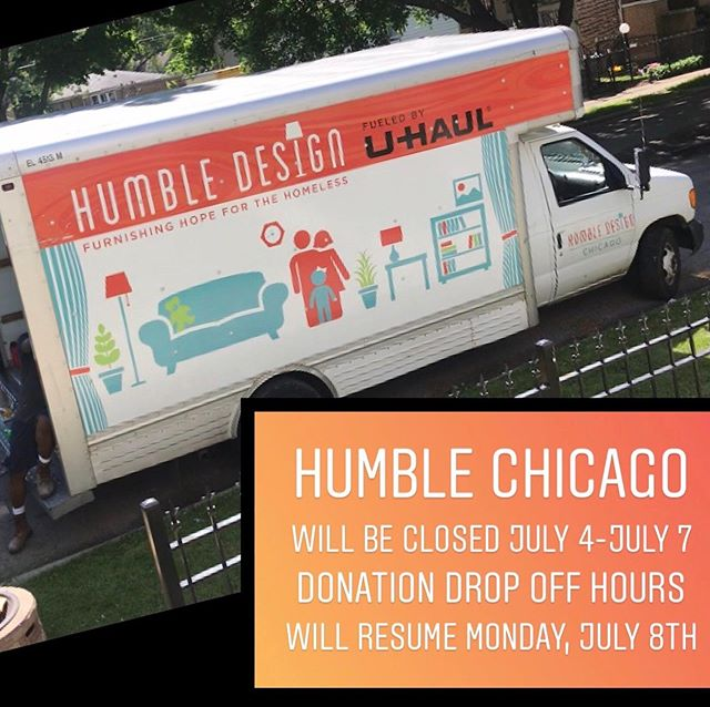 Happy 4th of July Humble Warriors🇺🇸 Our warehouse will be closed July 4th-July 7th. Donation drop off hours will resume on July 8th from 9:00-2:00.  To schedule a pickup or to learn more about Humble Design, find us at https://www.humbledesign.org/chicago  #humbledesign #humblewarriors #dogood #makeadifference
