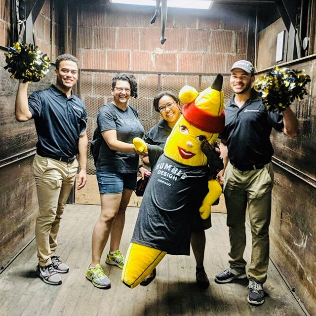 """THREE CHEERS FOR VOLUNTEERS! Daisy spent the day with Steph and UIC medical students Lexi, Landan and Jason who are in Chicago for a summer program. It was a busy day in the warehouse for this fabulous foursome. These superstars tackled a number of items on our """"TO DO"""" list...from sorting and organizing linens to pulling for Friday's family. Thank you for making a difference🧡  To volunteer or to learn more about Humble Design, visit us at https://www.humbledesign.org/chicago  #humbledesign #humblewarriors #dogood #makeadifference #volunteersrock"""