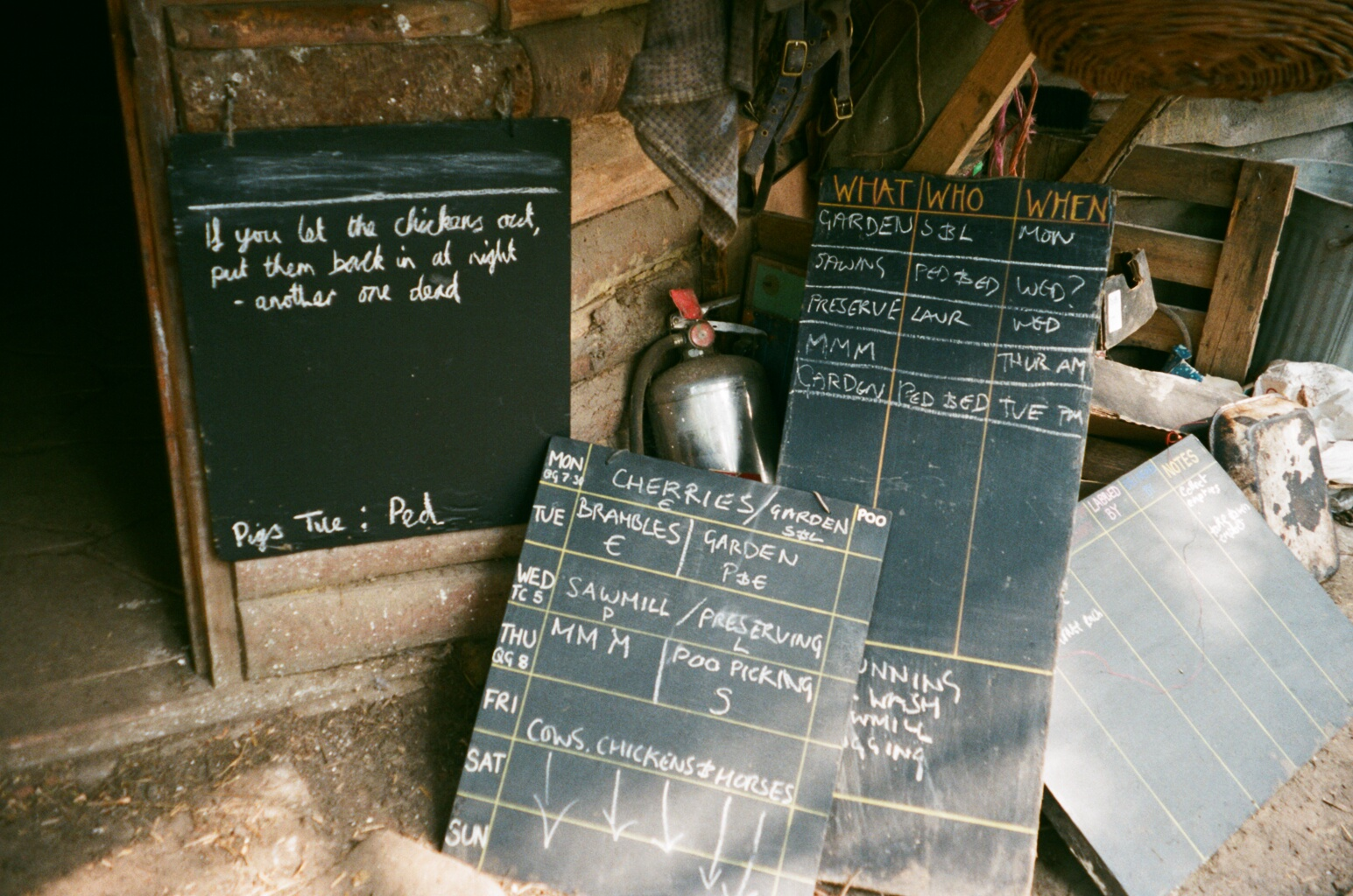 communal tasks are divided on these chalkboards between the residents .JPG