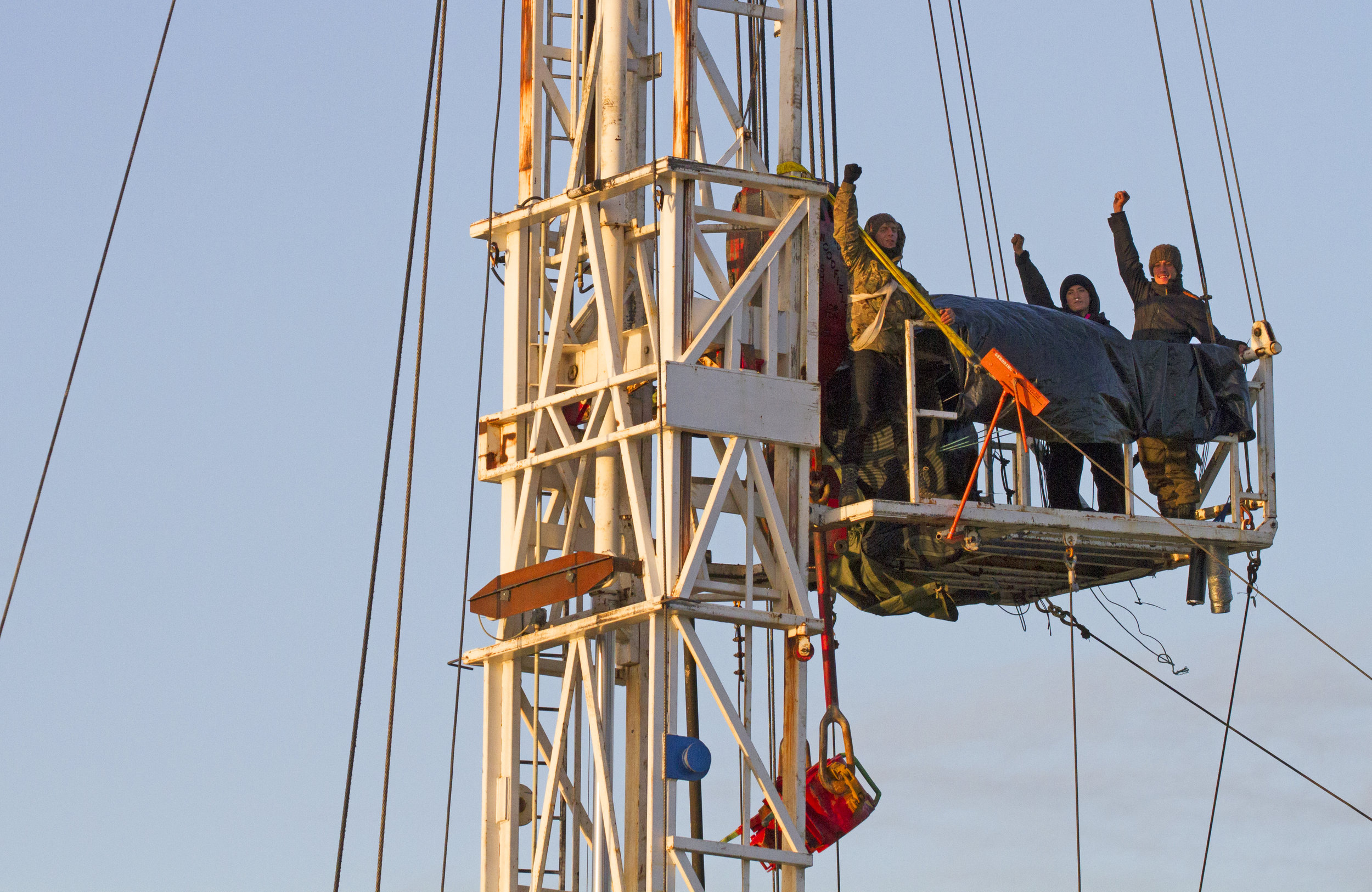 Activists occupying the rig at Kirby Misperton in October 2017. Photo: Leigh Coghill