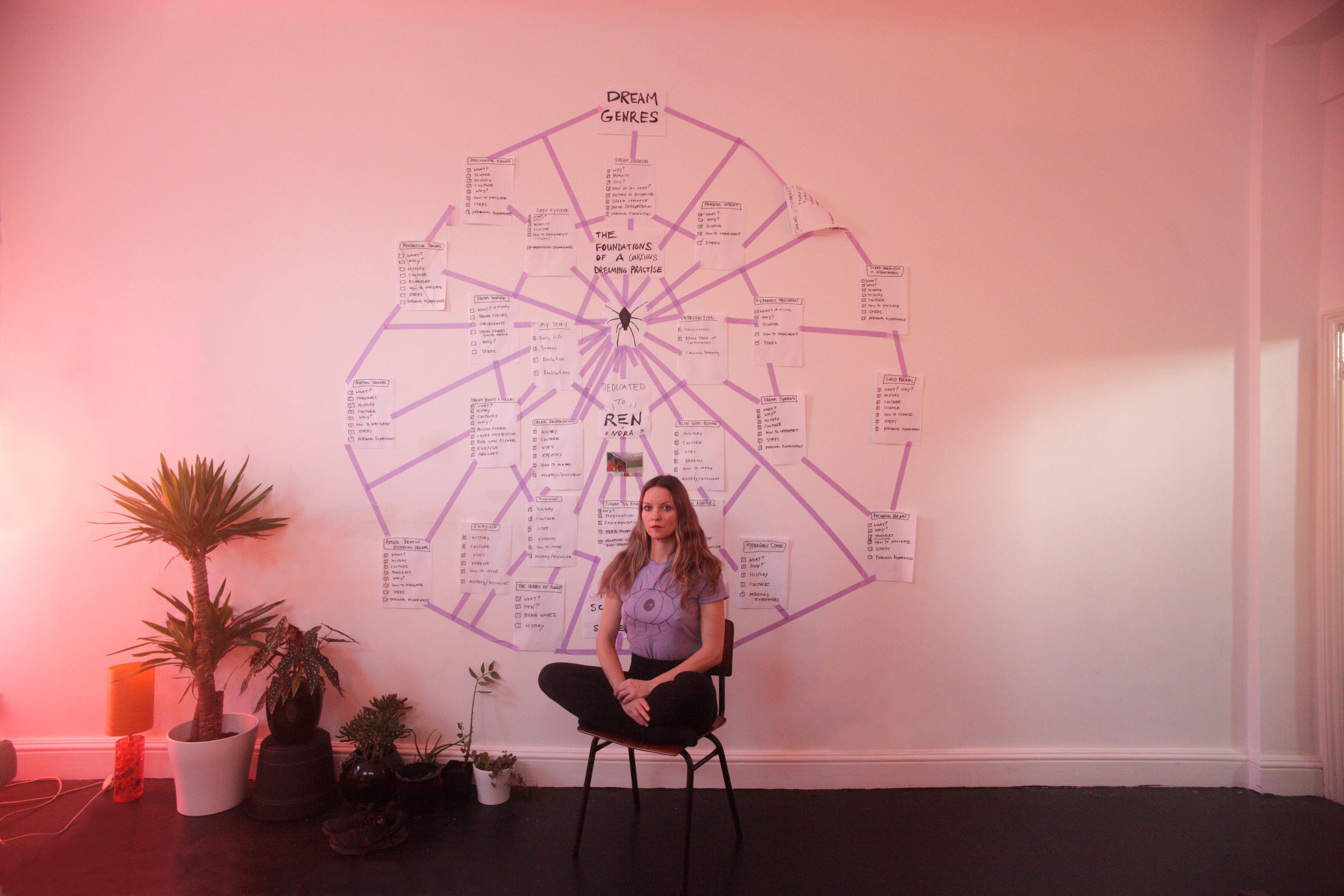 Tree Carr with her spider web mind map photographed by Adam Carr.