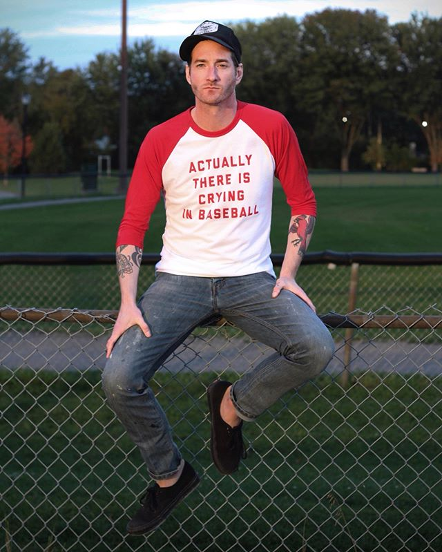 Maybe you thought I was kidding about this shirt. And maybe I did too. Yet, here it is, in all its melancholy, raglan-sleeved glory (and available now in our shop). - Big thanks to musician and fine t-shirt model @stevestp who has, on more than one occasion, cried in baseball.