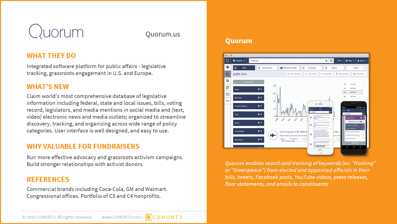 The new report from COHORT3 highlights the Top 5 most innovative technology products for fundraisers chosen from 125 exhibitors at the 2018 NTEN Conference. Download the report to learn more about Quorum (above) and the other innovators.