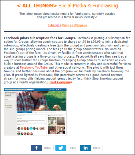 Friday June 22 2018 Edition: This featured story is just 1 of 8 to 10 curated articles from today's news about social media for fundraising and marketing.