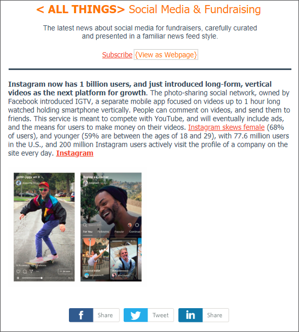 Wednesday, June 27, 2018 Edition: This featured story is just 1 of 8 curated articles from today's news about social media for fundraising and marketing.