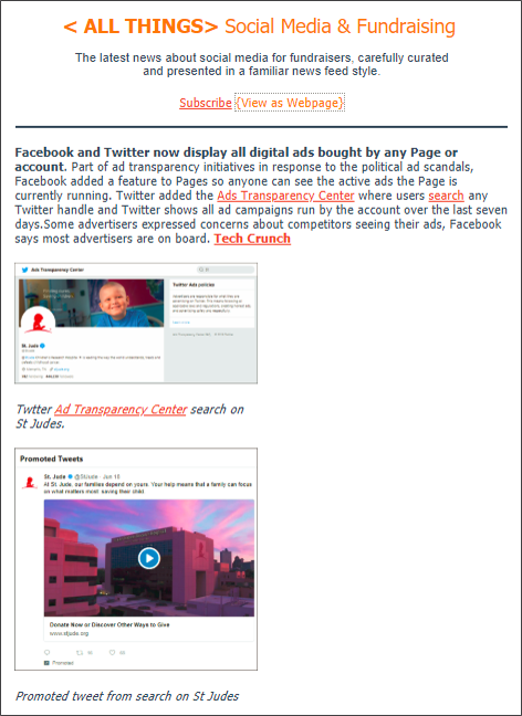 Friday, June 29 2018 Edition: This featured story is just 1 of 8 curated articles from today's news about social media for fundraising and marketing.