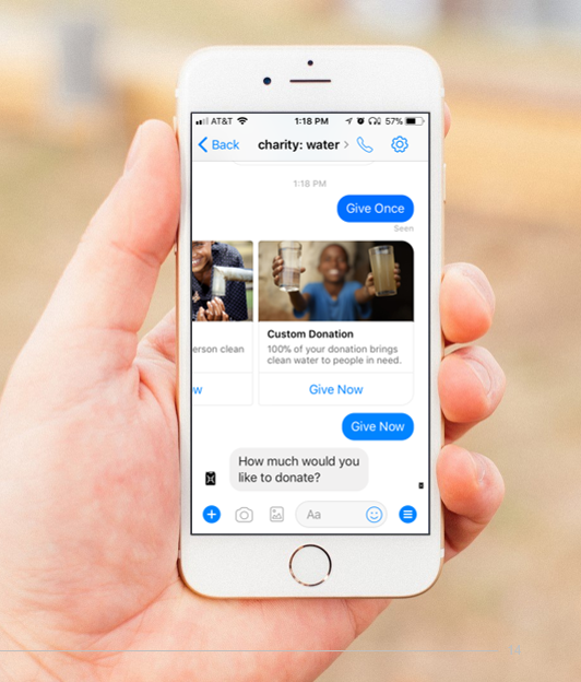 Charity:water's donation Chatbott on Facebook Messenger is featured in the report..