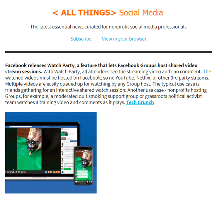 Wednesday July 25 Edition: Facebook releases Watch Party so Groups can watch streaming video together. Also in this edition, YMCA's body shaming campaign on social media #IPledgeToBeReal, Instagram's newest non-human or fake accounts called 'Avatars'.
