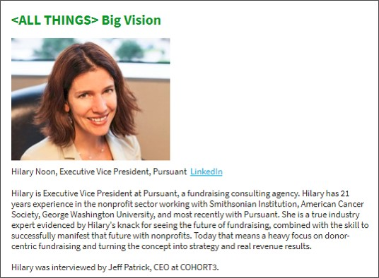 """See the full interview    Friday July 27 Edition: Check out our interview with Hilary Noon, EVP at Pursuant.  """" AI can help vastly improve our collective ability to understand people's interests, their likes and dislikes, their buying [giving] behaviors and who they are influenced by. """""""