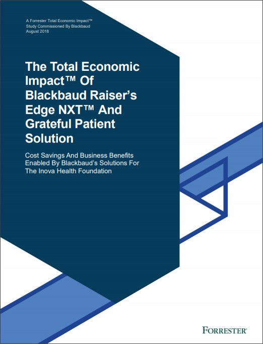 Forrester report on the value created by Blackbaud Grateful Patient solution at INOVA Health Foundation.
