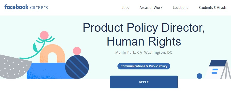 On Saturday, Facebook posted an open position for a director of human rights policy.