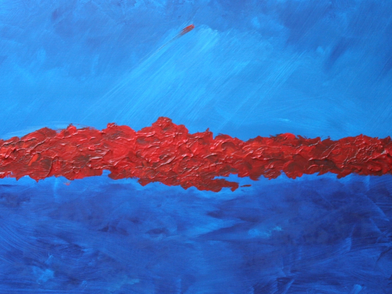 "Red Line #2 (Blue Planet) :: 48""x30"" :: $400 :: SOLD"