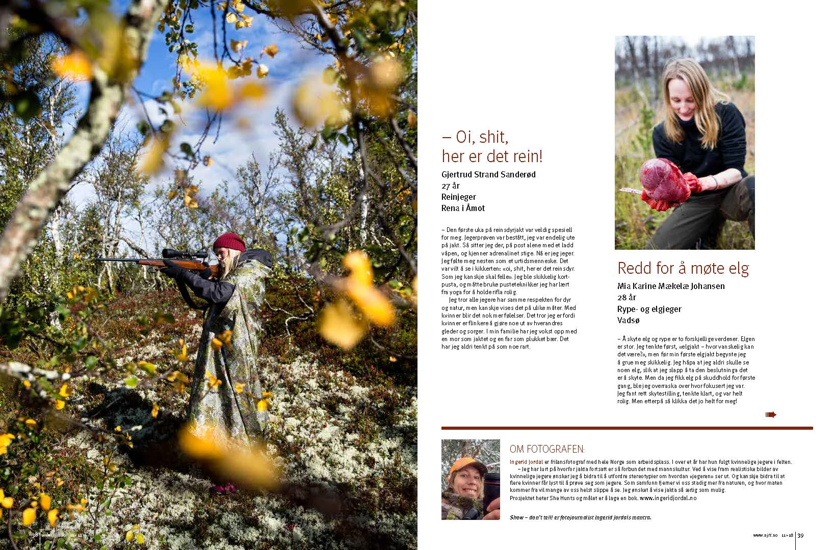 Part of 11 page spread in Norwegian hunting magazine Jakt & fiske.