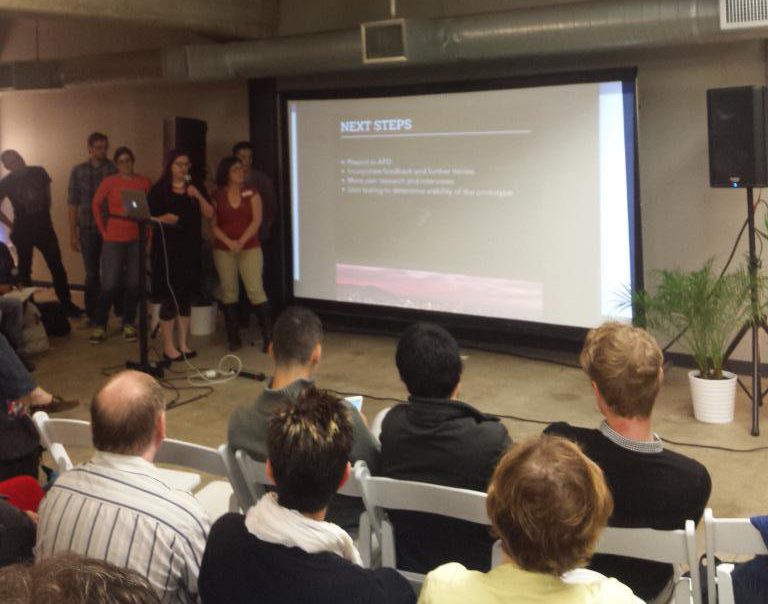 Presenting our work at the end of the hackathon.