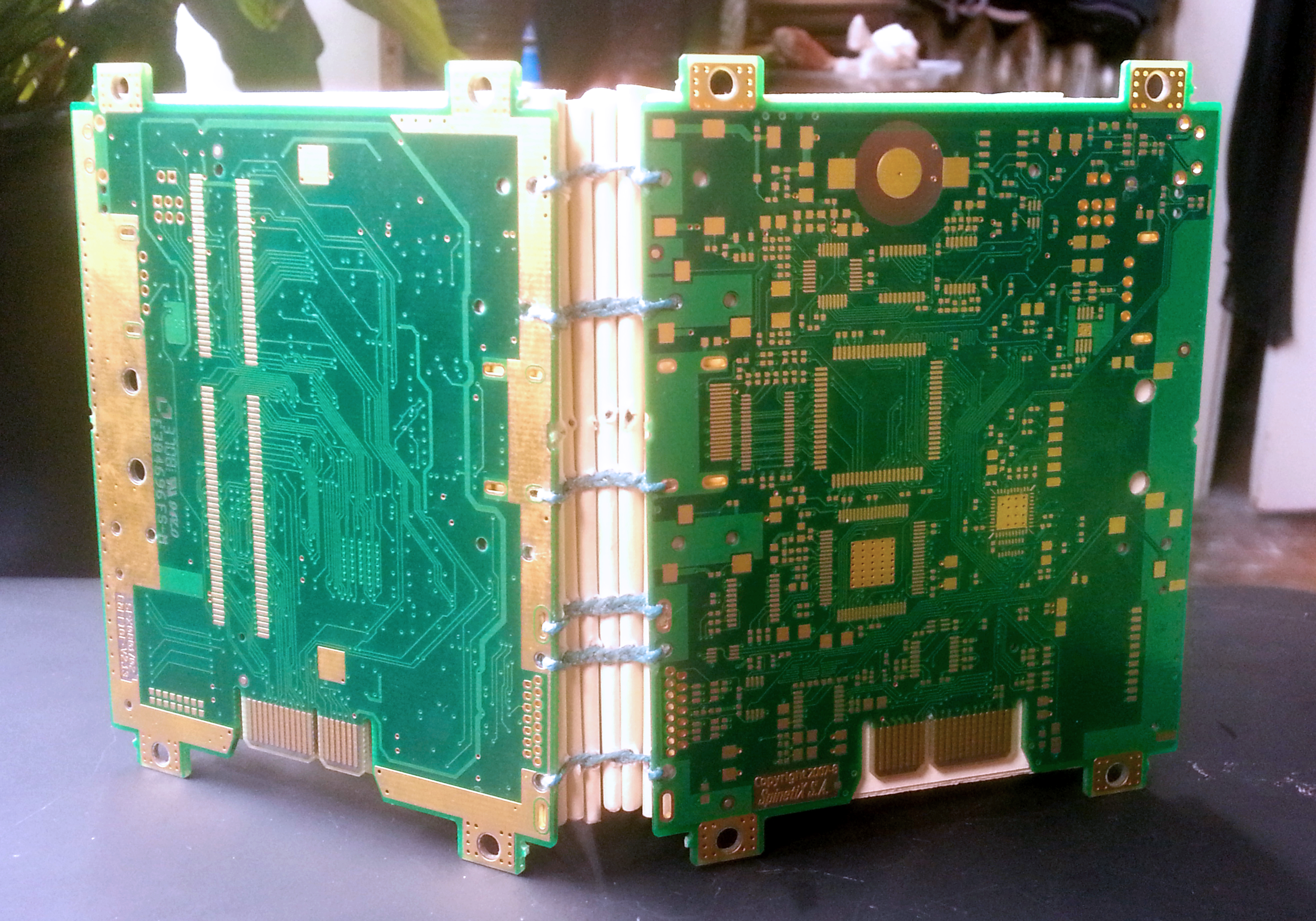 We used outdated circuit boards for the covers, which I thought was pretty cool considering  how ancient this type of binding is.