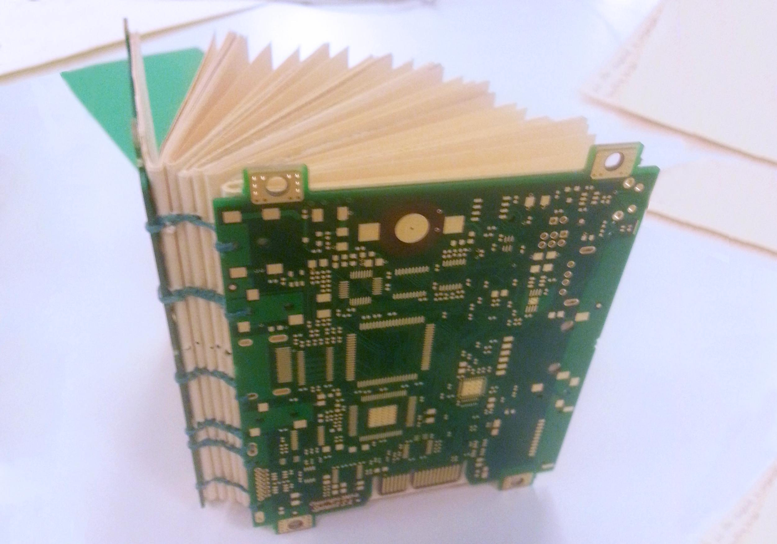 Coptic Bookbinding with old circuit boards! From a workshop I took at DU.