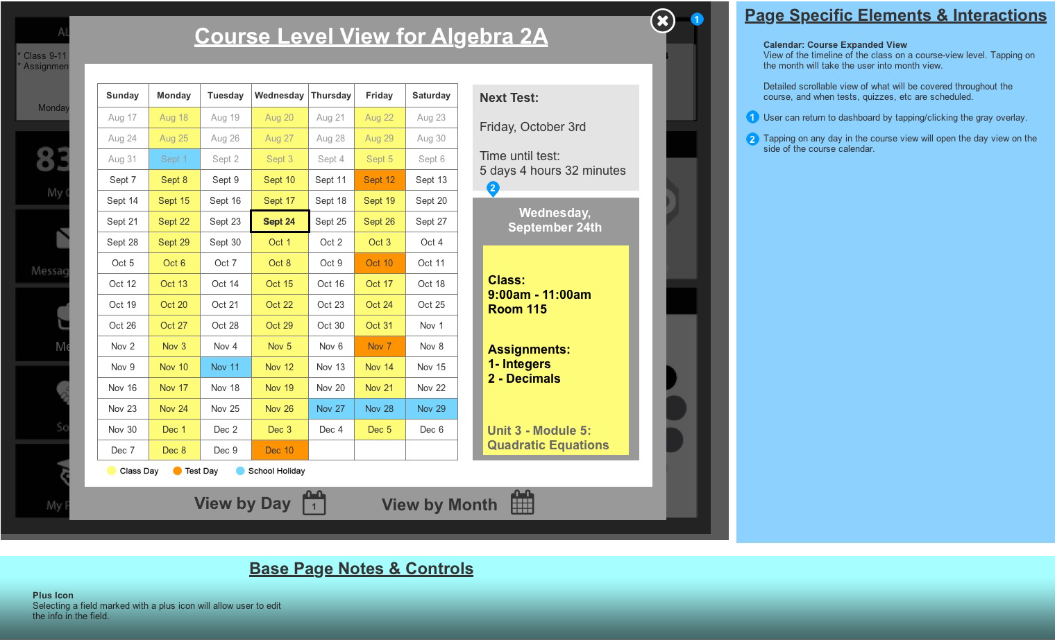 Course Level Calendar View